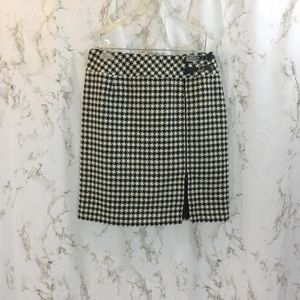 Tribal herringbone zip front buckle pencil skirt